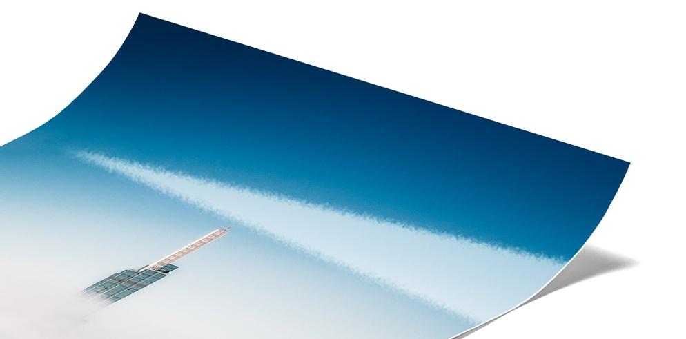 Echtes Fotoabzug kaschiert auf Aluminium